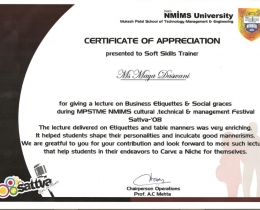 A Testimonial of Appreciation from NMIMS University for Soft Skills trainer, Ms Daswani