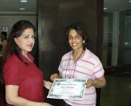 Persona Power's Certificate to Ms Beena Sadarangani, 2007